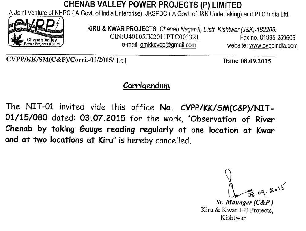 Corrigendum regarding Observation of River Chenab...