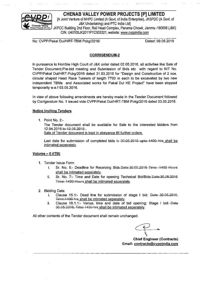 Corrigendum regarding NIT No. CVPP/Pakal DuI/HRT-...