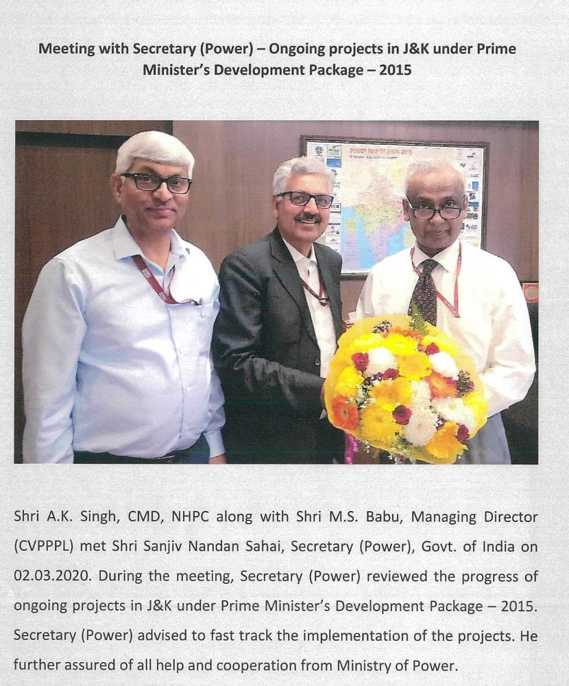 CMD-NHPC and MD-CVPPPL meet Secretary Power, GoI