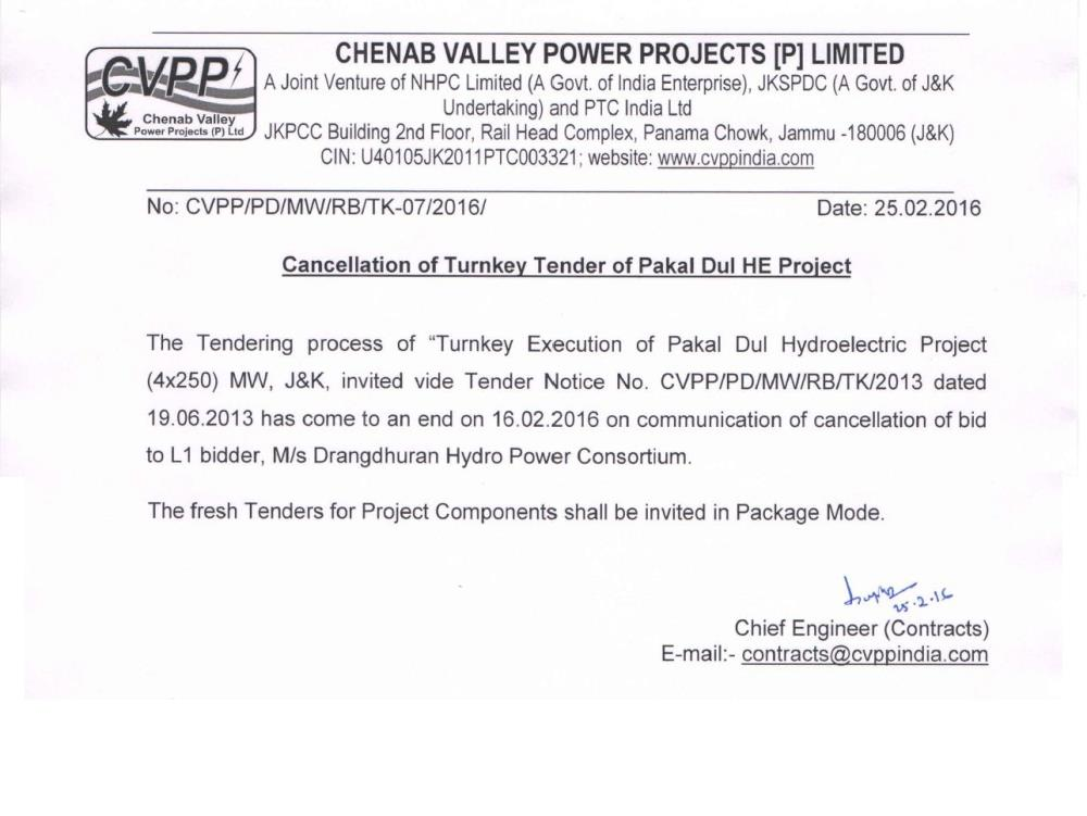 Cancellation of TurnkeyTender of Pakal Dul HE Pro...