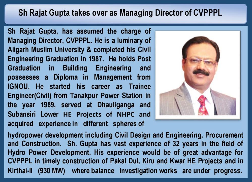 Sh Rajat Gupta takes over as Managing Director of...