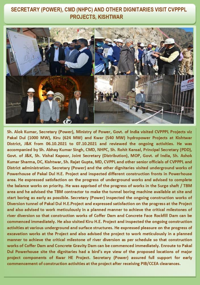 Visit of Secretary (Power), CMD, NHPC And Other D...