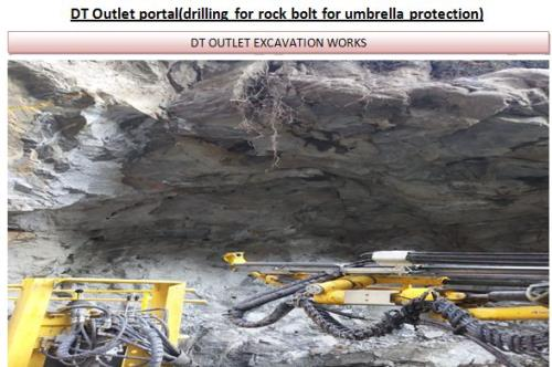 DT Outlet portal(drilling for rock bolt for umbrella protection)